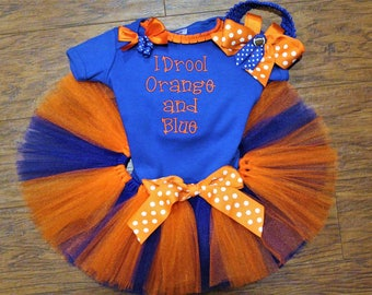 Florida, Florida Gators, gators, baby girl clothes, baby girl, baby shower gift, new baby gift, orange, blue, bodysuit, football, baby tutu