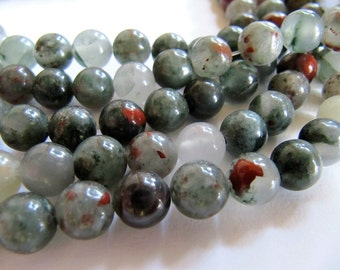 8mm African Bloodstone Beads in Green, Golden Brown, Brick Red and Cream, 1 Strand 48 Beads, Slightly Translucent Round Polished Gemstones
