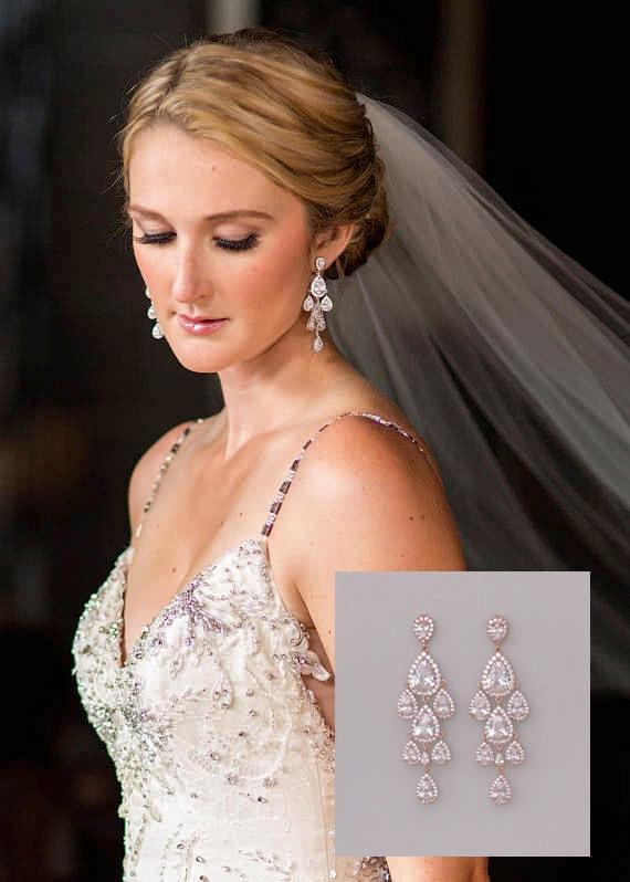 Rose Gold Earrings Chandelier Earrings Teardrop Bridal