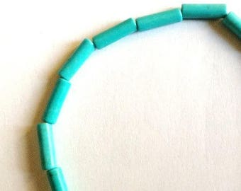 Set of 13 mm turquoise blue color tube beads