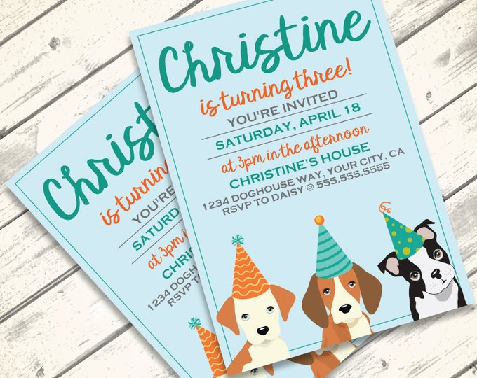 Dog Party Invitation - Doggie Birthday Party, Doggy Party, Puppy Party Invitation, First Birthday - DIY Instant Download PDF Printable