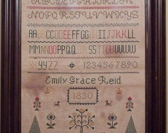 Primitive cross stitch, sampler chart/pattern,primitive needlework, schoolgirl sampler, early American , Emily Grace Reid