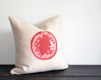 One of a Kind Modern Rust and Cream Hand Dyed Botanical Sunprint Wool Throw Pillow