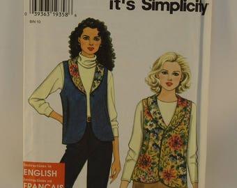 Simplicity Pattern 7318 Reversible Vest Size A ( 6-16)