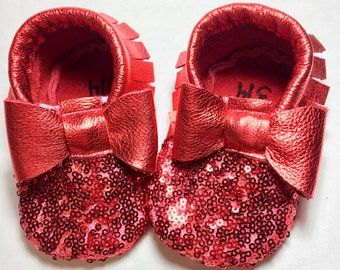 Red Sequin Baby Moccasins/ Leather Moccasins/ Baby Shoes Girl/ Toddler Moccasins/ Kids Moccasins/ Newborn Moccasins/ Baby Gift/ Mocs