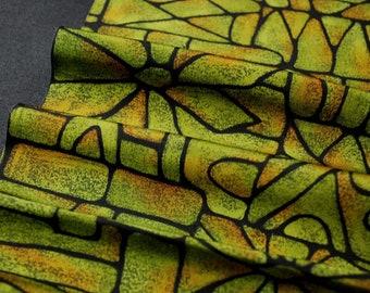 "10.4""w. x 25.4""l. Vintage silk kimono fabric green and black flower 2979K"