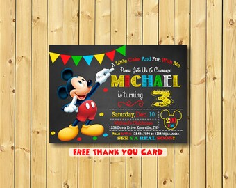 Mickey Mouse Invitation,  Mickey, Invitation, Mickey Invitation, Mickey Mouse Invitation Printable, 3rd birthday, free thank you card