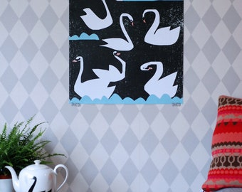 SALE! Swan poster extra large Night swans print