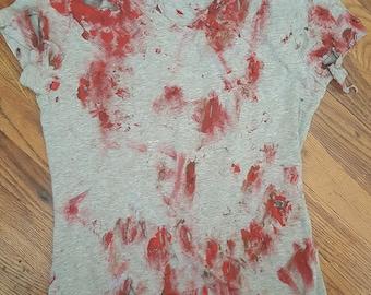 Hand Painted Gory Zombie TeeShirt Costume Size Adult Medium OOAK