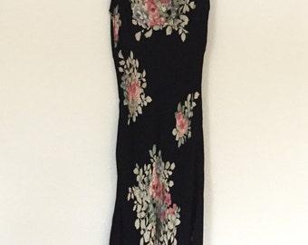 1990s Vintage Floral Print Bias Slip Dress