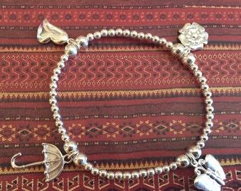 Charm Bracelet,Sterling Silver Bracelet,Handmade Bracelet,Silver Bead Bracelet...
