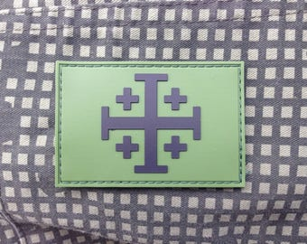 Jerusalem Cross Multicam Green Morale Patch Infidel Crusader
