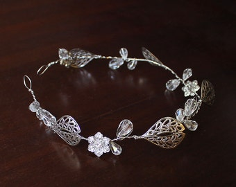 Nicolette Bridal Hair Wreath, Leaf Crown, Bohemian Bridal Headpiece, Bridal Hair Vine, Bridal Crown, Wedding Leaf Headpiece, Leaf Wreath