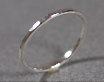 One Hammered Stacking Sterling Silver Ring Handmade 14 gauge 14g 925 forged stacker stacking band