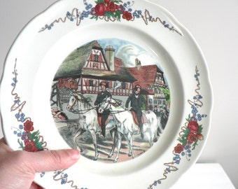 Vintage Sarreguemines  French Porcelain Dish  Pyroblan French Decorative Plate