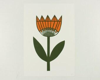 Retro style Tulip Linocut print