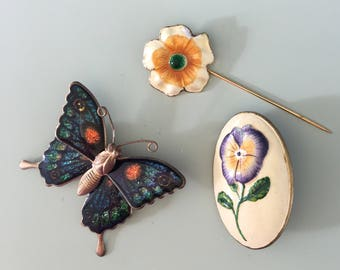 3Pc Vintage Butterfly And Flower Brooches