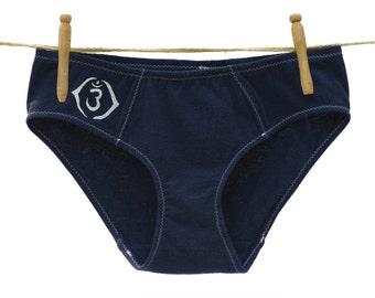 Third Eye Chakra Navy Blue Boy-Cut Underwear - Recycled Cotton - Made to Order
