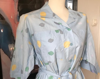 Vintage Marimekko Dress / Size Large / 1980 Finland / Light Blue & Colorful with dots
