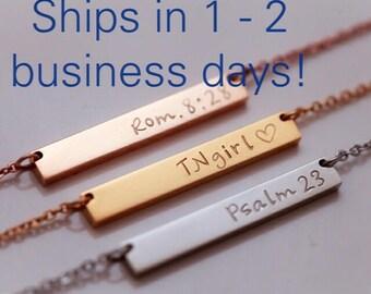 Rose Gold Bar Necklace - Gold Bar Necklace - Personalized Gold Bar Necklace - Best Friend Gift - Personalized Bar Necklace - Girlfriend Gift
