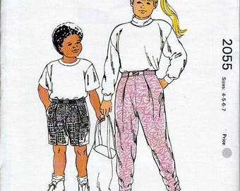 Boys and Girls Pants and Shorts Kwik Sew 2055 Sz 4 5 6 7 OOP Master Pattern FF ©1990 NIP