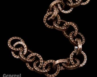 5mm Antique Copper Textured Circular Cable Chain #CC49