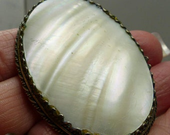 victorian hand carved Mother of Pearl Pin in Sterling- 12.5 grms-50X37mm- 1911
