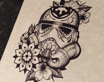 Fine line dotwork, Star Wars inspired dotwork day of the dead Stormtrooper A4 print. (Not tattoo flash) - please do not reproduce.