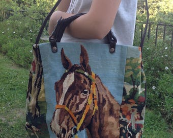 Horse embroidered leather bag