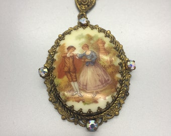 West Germany Necklace Vintage Jewelry Floral Pendant