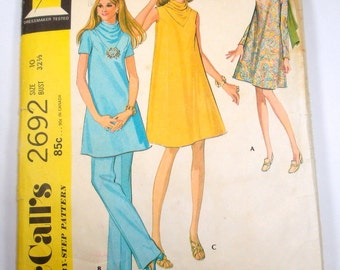 Vintage Maternity Dress Pattern, Top and Pants, McCall's 2692, Complete Sewing Pattern  (14-14)