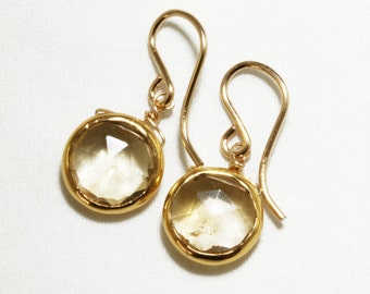 Citrine Earrings Golden Citrine Earrings 18k Gold Bezel Genuine Citrine Earrings November Birthstone Citrine Jewelry BZ-E-105-Cit/g