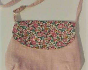 Shoulder bag adjustable linen and liberty