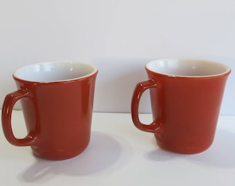 Vintage  Corning Coffee Cups Set of Two Burnt Orange Corning Coffee Cups, Orange Corning Coffee Cups Vintage Orange Coffe Cups - V158