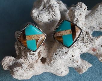 Sterling silver turquoise, tigerseye inlaid stud earrings