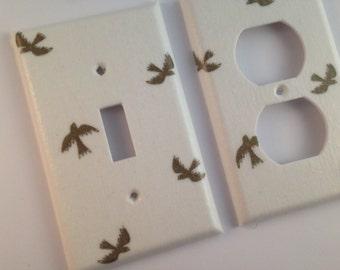 Gold Light Switch Cover  / Gold Home Decor / White Gold Bedroom Decor / Gold Nursery Decor / Gold Bird / Metallic Gold Decor
