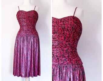 90s Dress / Vintage 90s Dress / 80s Dress / 90s Party Dress / Sweetheart Dress / Red Dress / Evening Dress / Disco Dress / Size Small