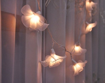 Flower string lights etsy 20 bulbs white love flower string lights for patioweddingparty and decoration mightylinksfo