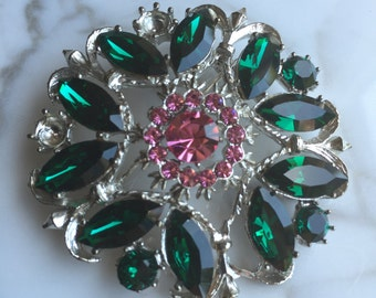 Vintage Weiss Brooch, Green and Pink Rhinestone Brooch, Weiss Foiled Rhinestone Brooch