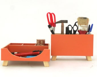 Desk Organizer Orange, Desktop Set Organizer, Wood Desk organizer, School Desktop Wood set, Office Accessories, Pen holder, Fathers day gift