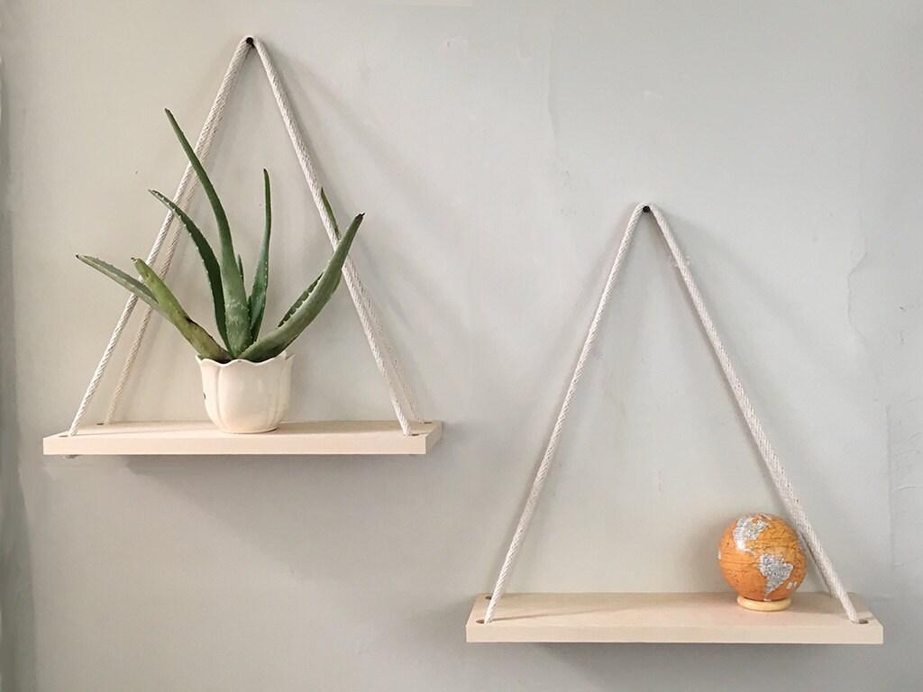 hanging shelves rope shelf hanging planter wall planter. Black Bedroom Furniture Sets. Home Design Ideas