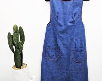 Vintage 1970s Overall Dress Chambray Denim Overalls Denim Dress Patch Pocket Chambray Dress Womens Bib Overalls Jumper Red Embroidery S/M