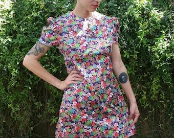"""Vintage 1960/1970 """"Hoot Owl"""" Floral Mod Mini Dress size S/M (bust 34"""")"""