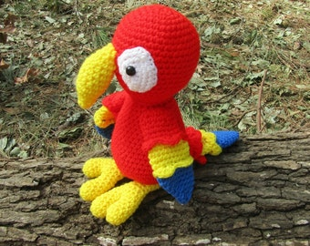 Amigurumi Parrot. Plush Toy Bird.  Crochet Parrot. Toy Gift for Child. Plush Toy Red-Yellow-Blue Parrot. Soft Toy Parrot. Ready-to-Ship.