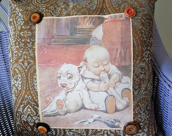 Vintage Baby and Puppy Accent Pillow (single image)
