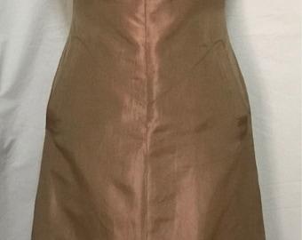 Rozae Nichols peach silk taffeta zip front dress