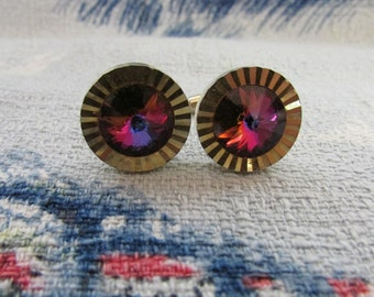 Vintage gold-tone & iridescent glass stone round cufflinks