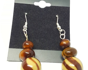 Light In Darkness Enterprises, Hand Crafted Earrings, Brown