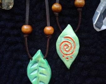 Orange Spiral Beltane Leaf Necklace - Enchanted Necklace Elvish Jewelry, Fairy Tale Jewelry, Midsummer Night Magick Jewelry, Fantasy Apparel