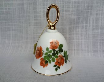 Saxony Crown Porcelain Bell, Vintage Germany Saxony Crown Bell, Dinner Bell, Collectible Flower Bell, Gift for Mother